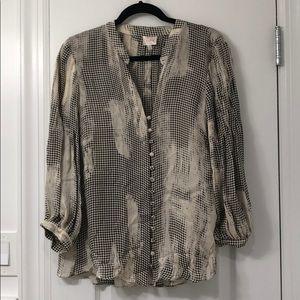 Parker houndstooth print silk blouse -M